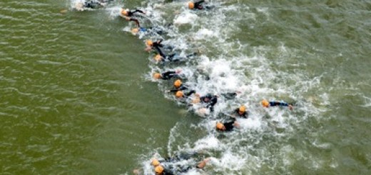 Triathlon - swimming - Holten, The Netherlands. Drone photo: Eric Brinkhorst