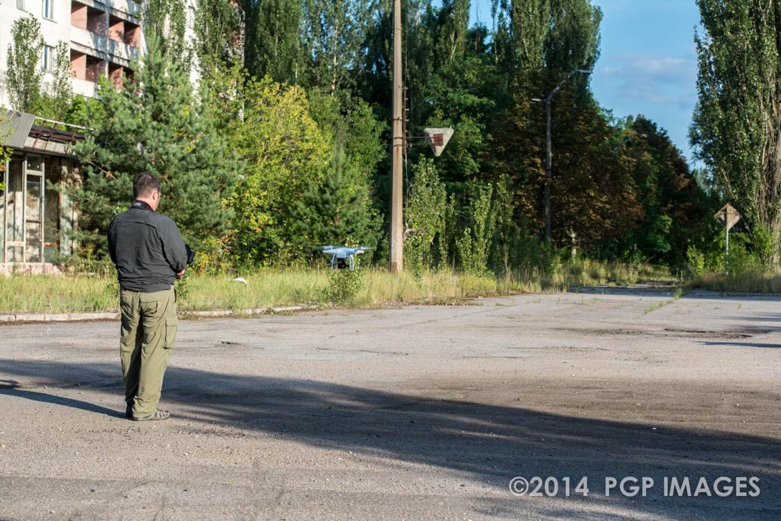 Philip Grossman in the streets of Pripyat