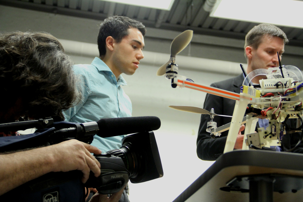 Drone Journalism Lab , students and professor Waite