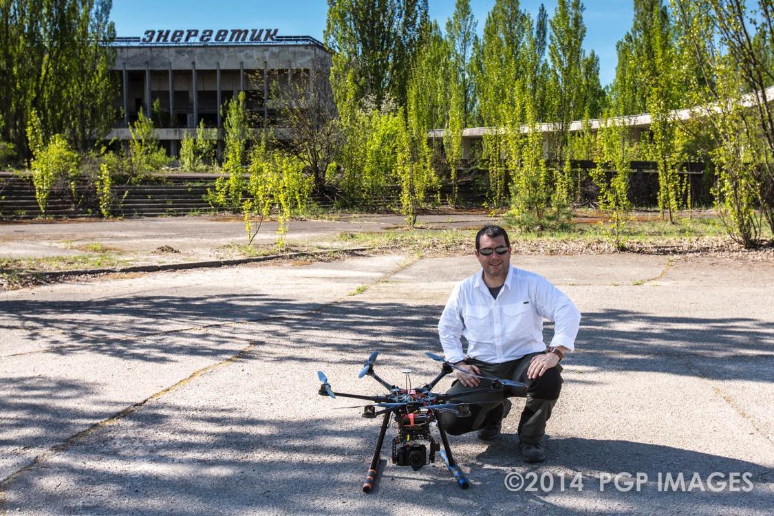 Philip Grossman portrait with drone in Ukraine